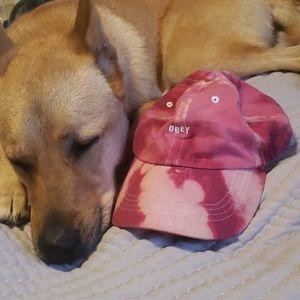 Never worn! Pink tie dye Obey hat